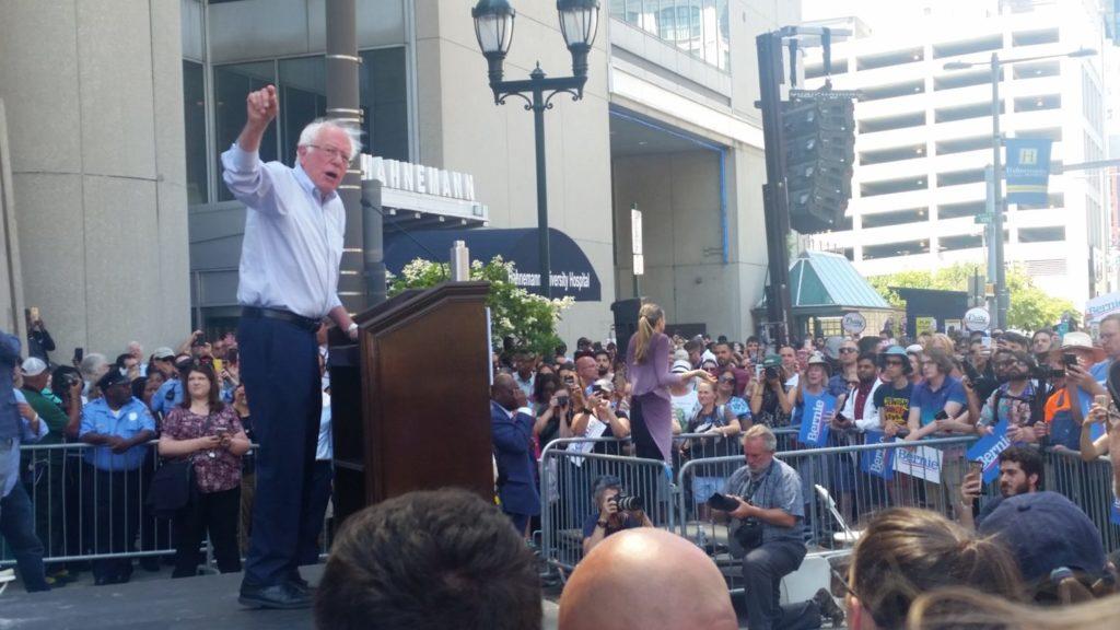 Bernie Sanders addressed the crowd outside of Hahnemann University Hospital