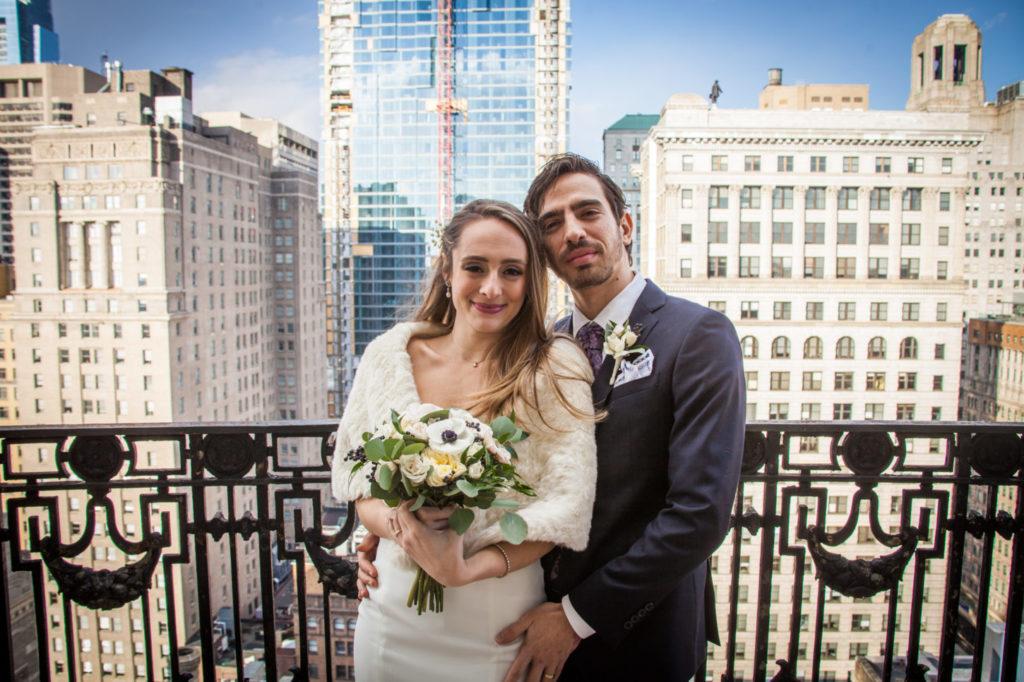 Aubrey Sherretta and Natan Segal, who met on a Taglit Birthright trip, in wedding attire