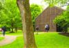 Students stroll on the campus of Solebury School in New Hope.