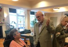 Federation Housing Resident Adele Fricker with state Rep. Steve McCarter
