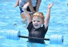 Nicholas Bravato enjoys instructional swim at Camp Kef at the Kaiserman JCC.