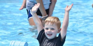 Nicholas Bravato enjoys instructional swim at Camp Kef at the Kaiserman JCC.