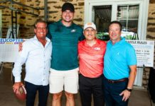 Bruce Goodman, Brent Celek, Eli Schostak and Bob Miller at theboys town jerusalem's annual Harry Levin/Sam Rabinowitz Memorial Golf outing