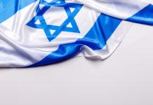 An Israel flag slightly crumpled