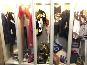 A few of the lockers at the new Philadelphia Jewish Sports Hall of Fame