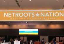 A sign reads Netroots Nation above the convention in Philadelphia