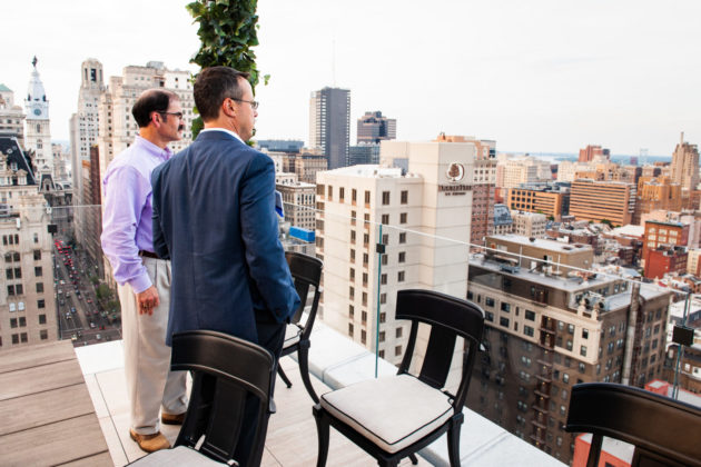 Guests take in the view from The Atlantic's rooftop.