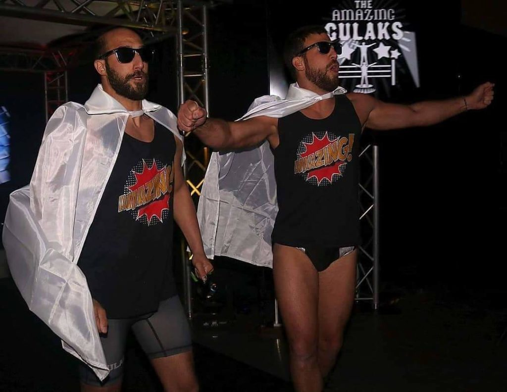 Professional wrestlers Rory Gulak and Drew Gulak, also known as the Philadelphia Stretcher