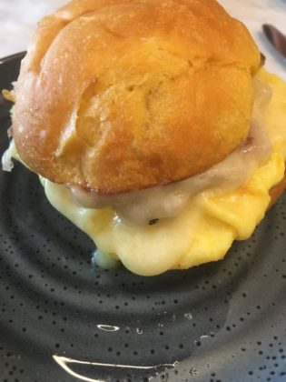 Egg sandwich on a brioche bun