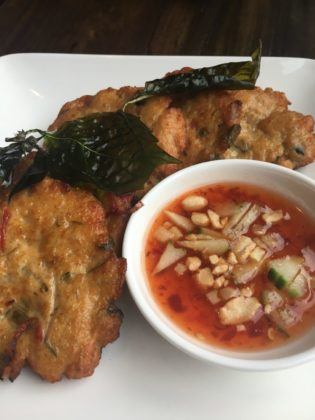 Tod mun pla, or fried fish cakes served with a sweet chili sauce