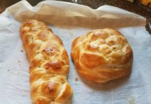 braided challah and a round challah