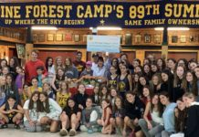 Pine Forest Camp campers with a big sign reading pine forest camp's 89th summer behind them