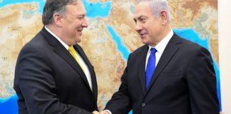 Mike Pompeo and Benjamin Netanyahu shake hands