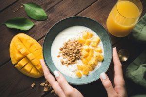 yogurt topped with mango