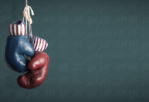one red and one blue boxing glove