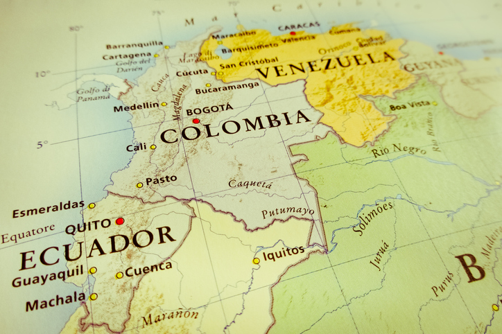 South America map showing Ecuador, Colombia and Venezuela