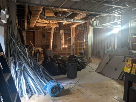 The inside of the Chevra space, damaged by the fires
