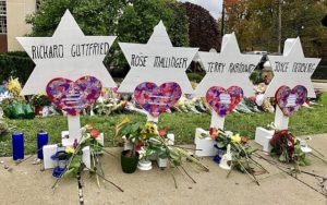 A memorial to Tree of Life shooting victims