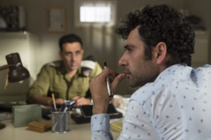 Two actors in a still from Tel Aviv on Fire