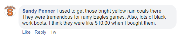 a post about buying yellow rain coats for Eagles games and work boots for $10