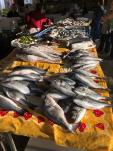 Fish on a table in a market