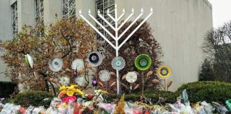 flowers outside Tree of Life synagogue