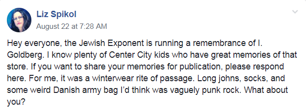 A Facebook post asking for memories of I. Goldberg