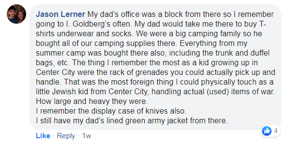 a post about buying camping supplies and seeing grenades and knives at the store