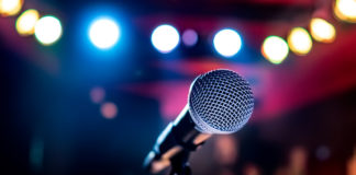 microphone against a blurred background