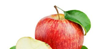An apple next to an apple slice