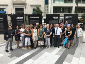 Training event participants pose at the Horwitz-Wasserman Holocaust Memorial Plaza