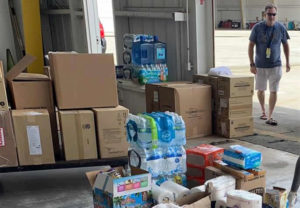Boxes of supplies for the Bahamas