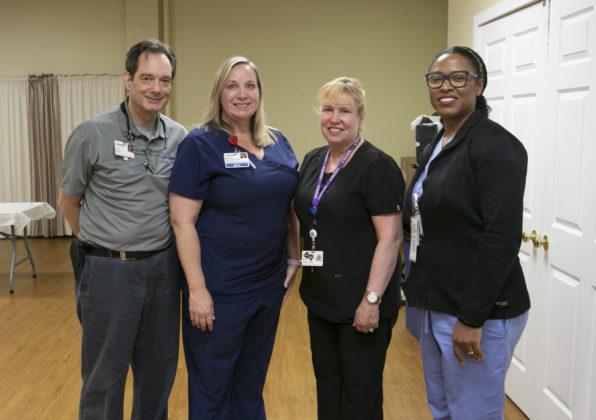 Emergency Medical Technician Lou Sforza; nurse Marlies Meinold; Einstein Medical Center Philadelphia Trauma Education and Outreach provider Cathy Markey; and nurse Myriam Poindijour