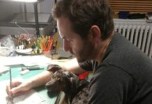 Alexander Rothman at the drawing desk