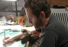 Alexander Rothman at the drawing desk