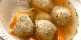 Matzah ball soup cooked in the oven