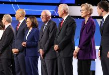 some of the Democratic candidates on stage