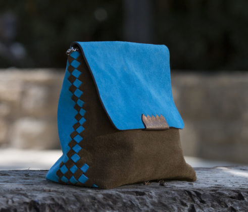 brown and blue woven clutch by Anat Gelbard