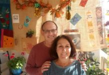 Main Line Reform Temple members Susan and Bruce Golboro in their sukkah