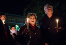 Mourners at a Tree of Life vigil