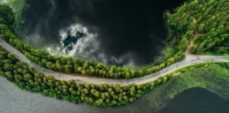 a bird's eye view of a road between trees and lakes