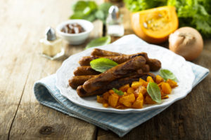 grilled sausages with roasted pumpkin