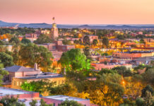 Santa Fe, New Mexico, downtown skyline at dusk