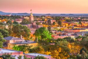 Santa Fe, New Mexico, downtown skyline at dusk
