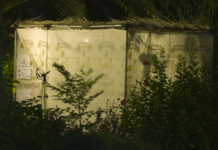 a sukkah at night
