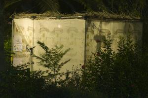 a sukkah at night