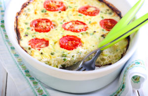 a frittata with tomatoes and herbs