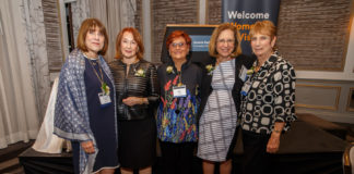 Past Chairs Donna Feinberg, Sally Cooper Bleznak, Marcy Bacine, Penni Blaskey and Judith Ginsberg
