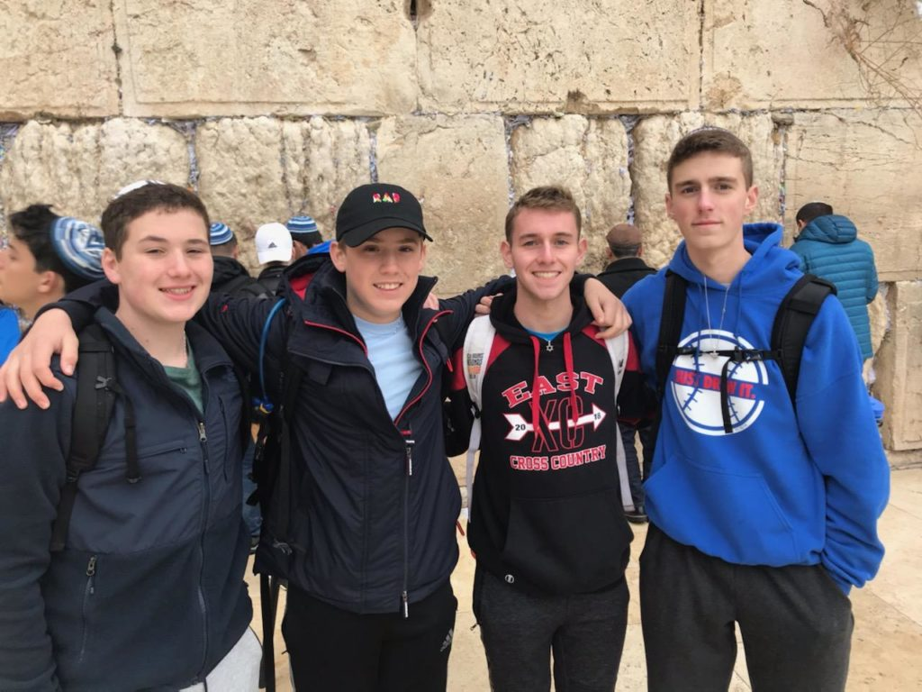 Brandon Bowman and friends at the Western Wall