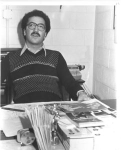 J. Russell Peltz in his office at the Spectrum in 1978